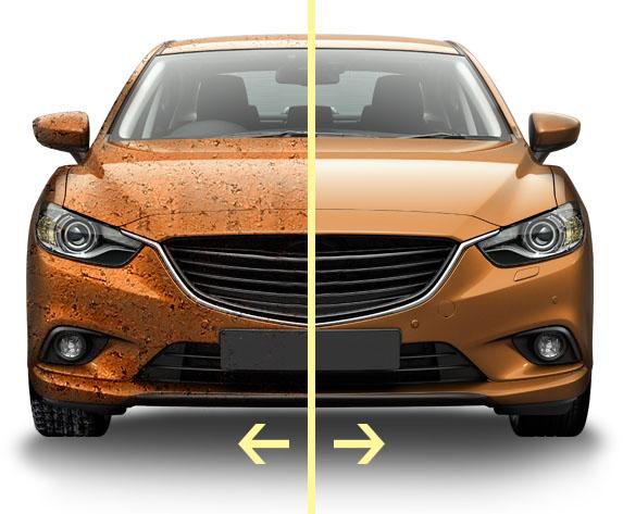 автомобиль с коррозией до и после
